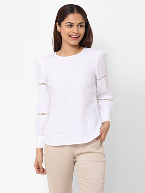 Women's Linen  White Regular Fit Blouse