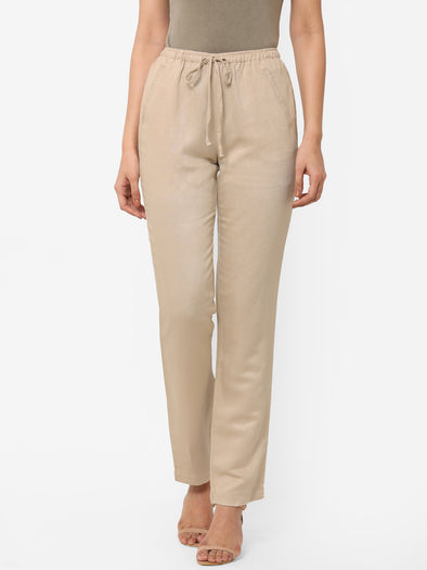 Women's Viscose Linen Khaki Regular Fit Pants