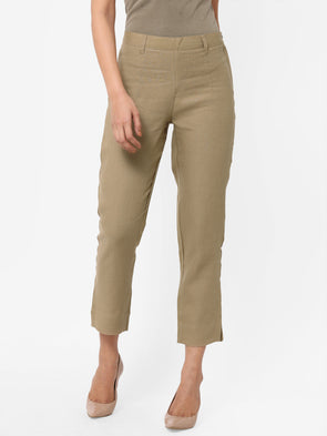 Women's Linen  Khaki Regular Fit Pants
