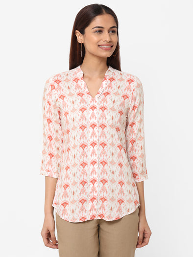 Women's Rayon  Pink Regular Fit Blouse