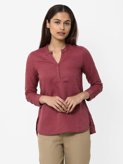Women's Linen Cotton Maroon Regular Fit Blouse
