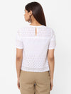 Women's Cotton  White Slim Fit Blouse