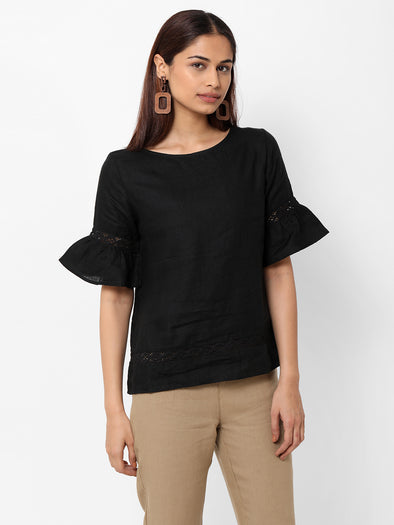 Women's Linen  Black A Line Blouse
