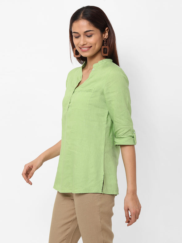 Women's  Linen Woven Green Regular Fit Blouse