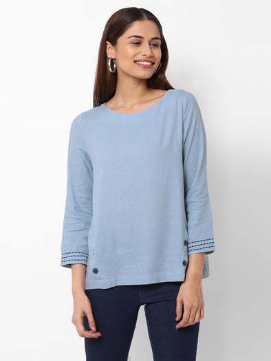 Women's Excel Linen Sky Regular Fit Blouse