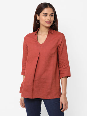 Women's Linen  Rust Regular Fit Blouse