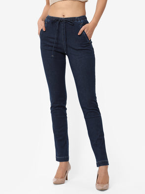 Women's Cotton Elastane Denim Regular Fit Pants