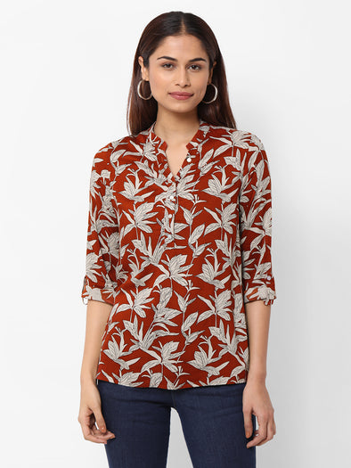Women's Viscose  Rust Regular Fit Blouse