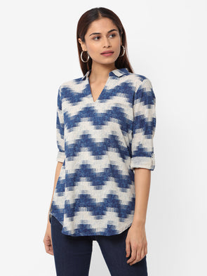 Women's Cotton Flax Navy Regular Fit Blouse