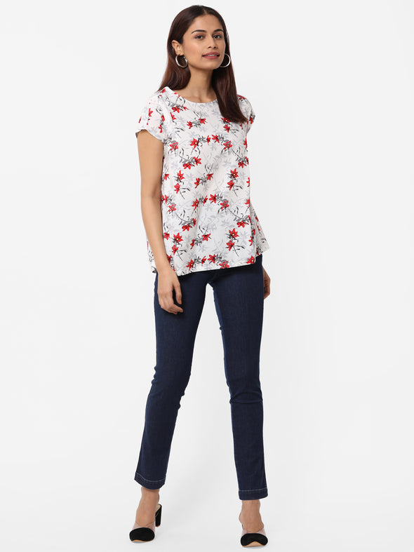 Women's Rayon  White Regular Fit Blouse