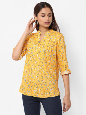 Women's Viscose  Yellow Regular Fit Blouse
