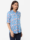 Women's Rayon  Blue Regular Fit Blouse