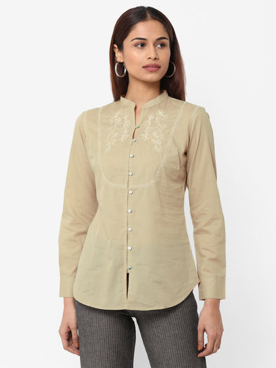 Women's Cotton  Beige Regular Fit Blouse