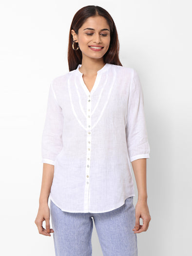 Women's  Linen Woven White Regular Fit Blouse