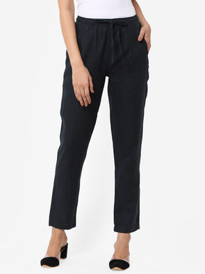 Women's Linen  Navy Regular Fit Pants