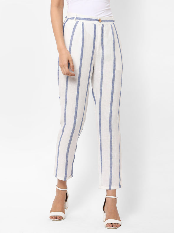 Women's Linen  White Tapered Fit Pants