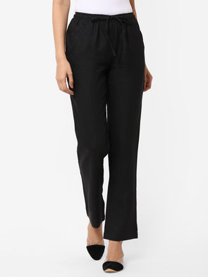 Women's Linen  Black Regular Fit Pants