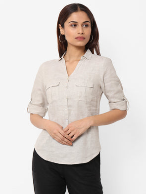 Women's 100% Linen  Beige Regular Fit Blouse