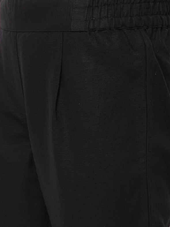 Women's Linen Cotton Black Regular Fit Pants