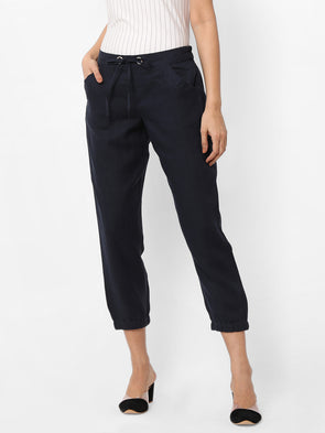 Women's Linen  Navy Jogger Pants