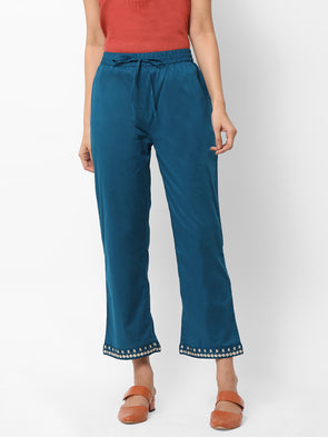 Women's Cotton  Teal Regular Fit Pants