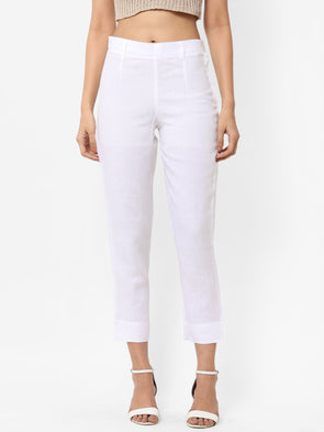 Women's Linen  White Regular Fit Pants