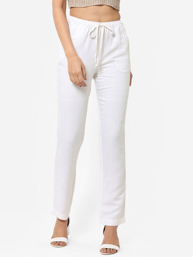 Women's Viscose Linen White Regular Fit Pants