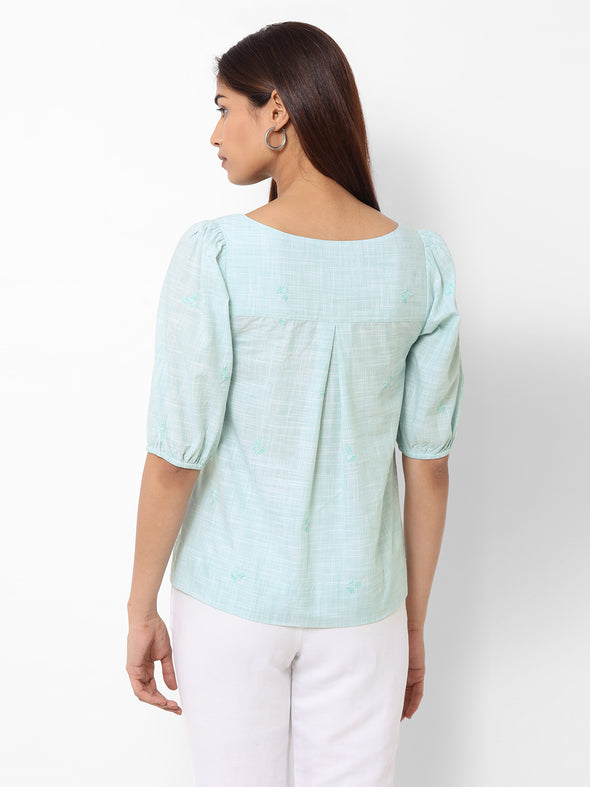 Women's Cotton  Green Regular Fit Blouse
