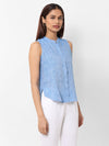 Women's Linen  Blue Regular Fit Blouse