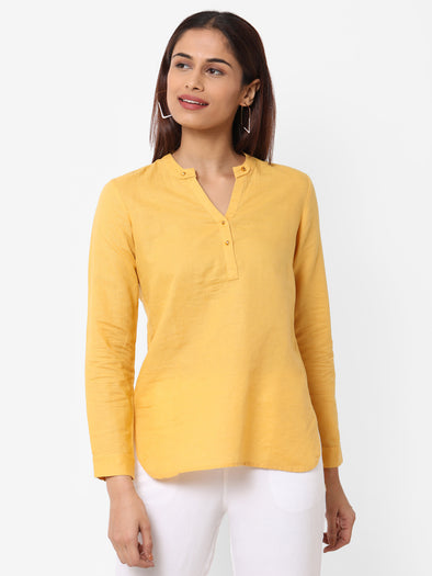 Women's Linen Cotton Mustard Regular Fit Blouse