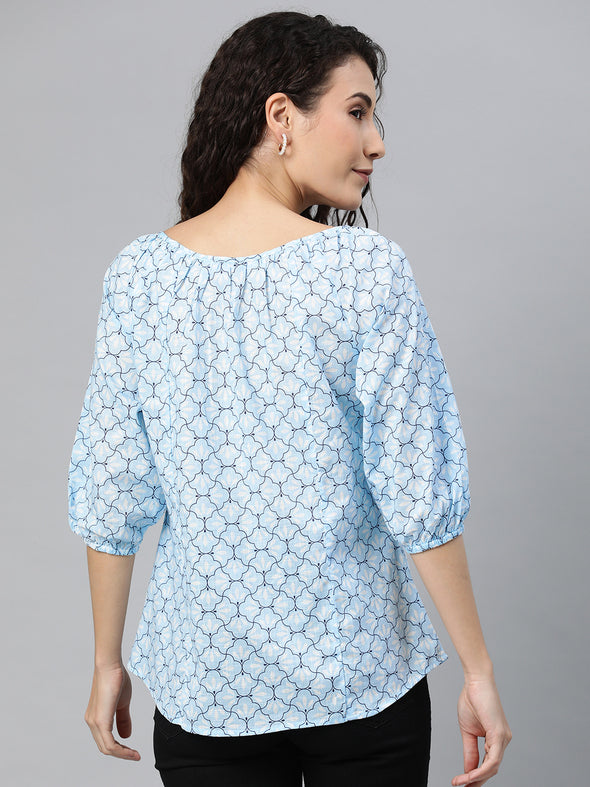Women's Cotton Blue Regular Fit Blouse Cottonworld Women's Blouse