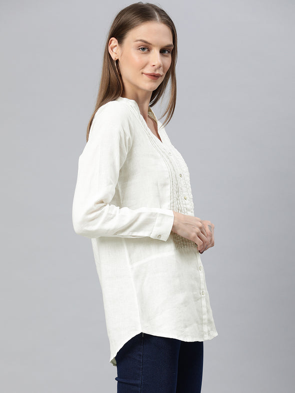 Women's Linen White Regular Fit Blouse Cottonworld Women's Blouse