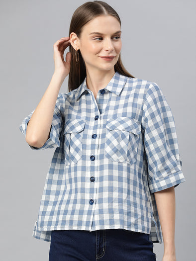 Women's Linen Cotton Blue Regular Fit Blouse Cottonworld Women's Blouse
