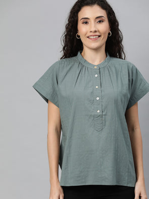 Women's Cotton Silver Regular Fit Blouse Cottonworld Women's Blouse