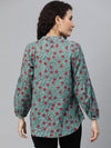 Women's Cotton Teal Regular Fit Blouse Cottonworld Women's Blouse