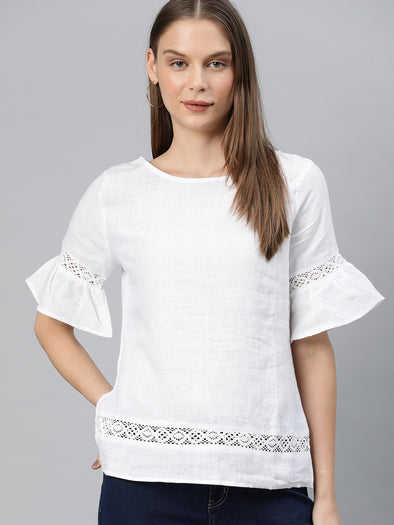 Women's Linen White A Line Blouse Cottonworld Women's Blouse