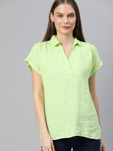 Women's Linen Lime Regular Fit Blouse Cottonworld Women's Blouse