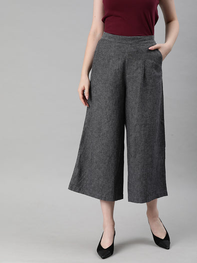 Women's Linen Cotton Grey Regular Fit Culotte Cottonworld Women's Culotte