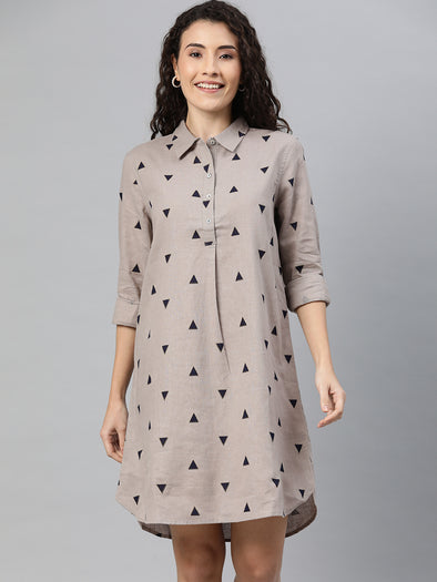 Women's Cotton  Flax Grey Regular Fit Dress Cottonworld Women's Dresses