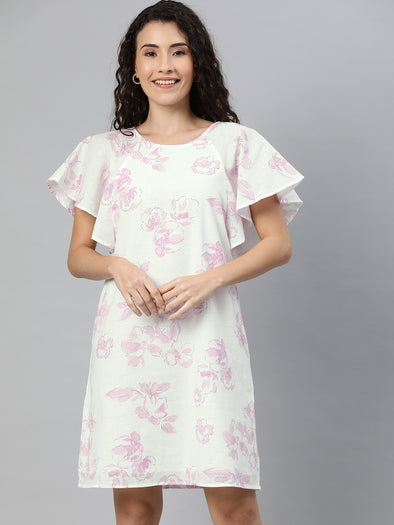 Women's Cotton  Flax Pink Regular Fit Dress Cottonworld Women's Dresses