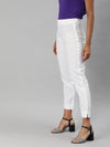 Women's Linen White A Regular Fit Pants Cottonworld Women's Pants