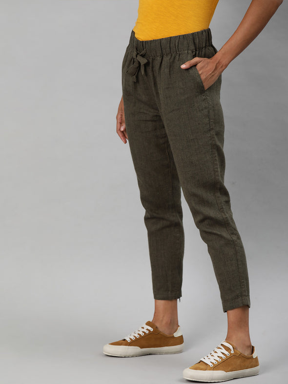 Women's Linen Brown Regular Fit Pants Cottonworld Women's Pants