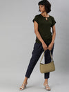 Women's Linen Navy Regular Fit Pants Cottonworld Women's Pants