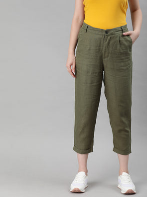 Women's Linen Olive Regular Fit Pants Cottonworld Women's Pants