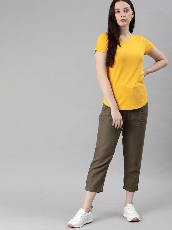 Women's  Cotton Mustard Regular Fit Tshirt Cottonworld Women's Tshirts
