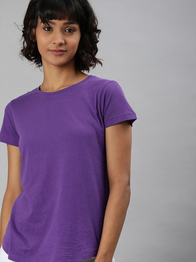 Women's  Cotton Purple Regular Fit Tshirt Cottonworld Women's Tshirts