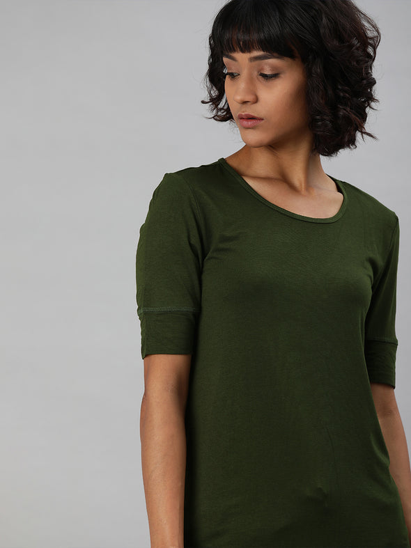 Women's Viscose Elastane  Olive Regular Fit Tshirt Cottonworld Women's Tshirts