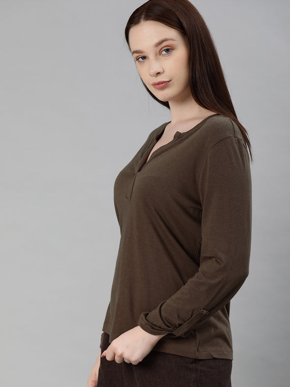 Women's Cotton Viscose  Brown Regular Fit Tshirt Cottonworld Women's Tshirts