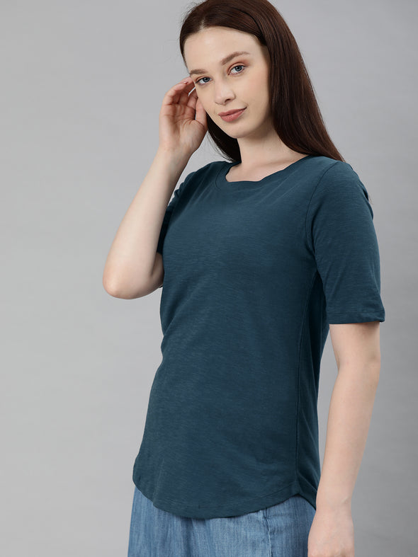 Women's Cotton Navy Regular Fit Tshirt Cottonworld Women's Tshirts