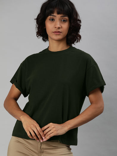 Women's Cotton Green Regular Fit Tshirt Cottonworld Women's Tshirts